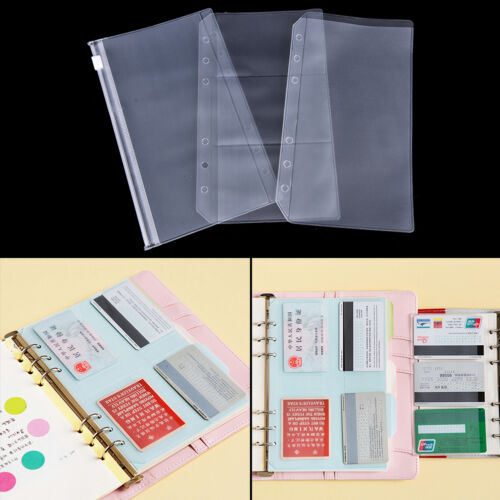 A5//A6 Clear Zip Lock Envelope Binder Pocket Refill Organiser Station Ji