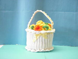 "Vintage 7 1/2""Crochet White Basket w/ Yellow and Orange Flowers Finished Piece"