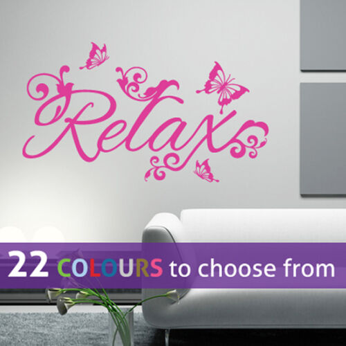 beauty salon spa RELAX and BUTTERFLIES wall sticker art decal bedroom bathroom