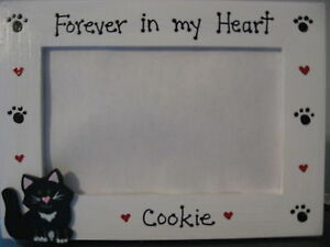 FOREVER IN OUR HEARTS PERSONALIZED CAT MEMORY pet photo picture frame