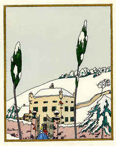 1930s-French-Pochoir-Max-Ninon-Print-Art-Deco-Winterscape-Old-City-Mansion-S