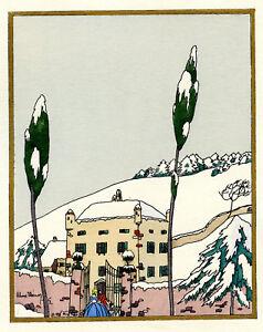 1930s French Pochoir Max Ninon Print Art Deco Winterscape Old City Mansion (S)