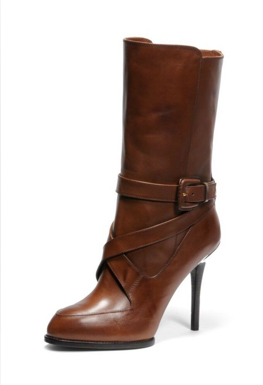 Brand New Tods Brown Leather Strappy Mid-Calf Gomma Boots Size 37/7 $1545.00