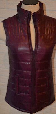 L M Women/'s Rue 21 Dark Purple Plum Sleeveless Full Zip Puffer Vest Size S XL