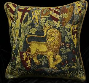 Decorative Tapestry Throw Pillows : DECORATIVE PILLOW COVER Medieval Tapestry Throw Cushion LION Sofa Scatter Red eBay
