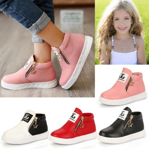Kids Girls Fashion Casual PU Leather Sports Sneakers Shoes Zipper Ankle Boots LD