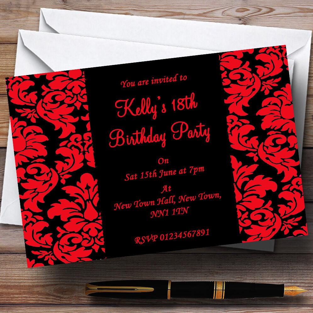 Floral Floral Floral Negro Y Rojo Damasco Personalizado Fiesta Invitaciones 02d9fd
