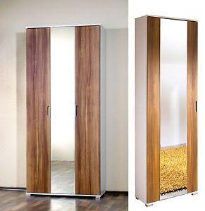 kleiderschrank garderobenschrank flurgarderobe schrank 3 trg 1 trg weiss walnuss. Black Bedroom Furniture Sets. Home Design Ideas