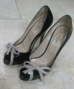a44258f9355 Details about Valentino 37 Black Patent Peep Toe Leather Heels With Bows  Italy