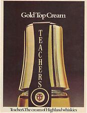 Original magazine advert(1975) TEACHERS Whiskey Gold Top Cream