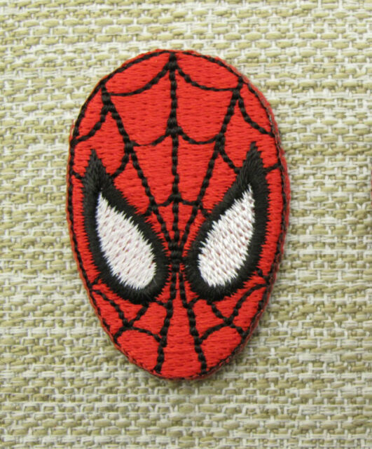 SMALL SPIDERMAN FACE Single Embroidered Iron Sew On Patch