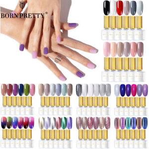 BORN-PRETTY-Soak-Off-Gel-Nail-Polish-UV-LED-Need-Top-Base-6Colors-Set-Multicolor