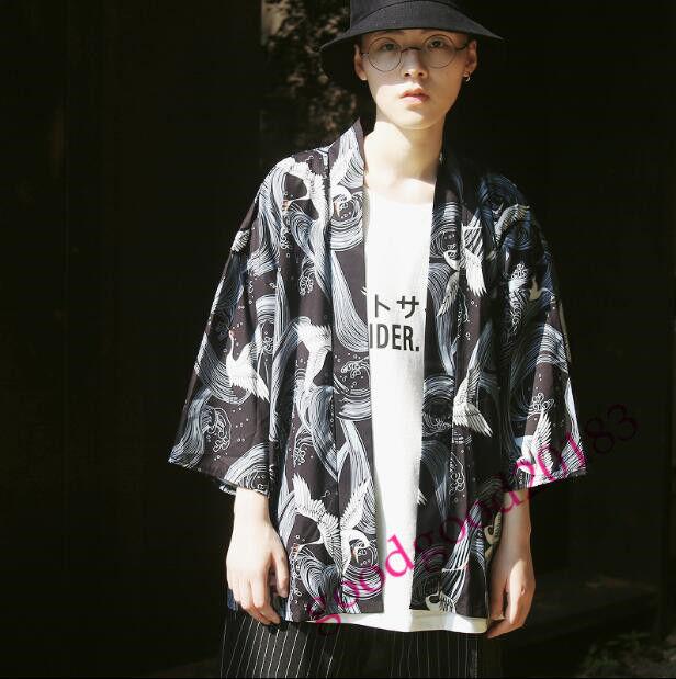 Retro men's crane printing kimono coulples outwear loose fit cotton blend coats