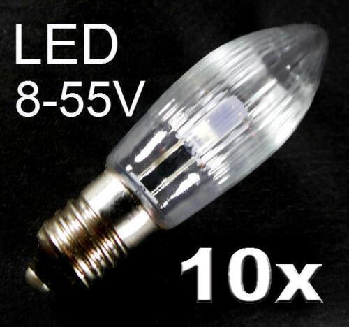 10x topkerze LED cadena de luces fiesta de Navidad de reemplazo e10 8v hasta 55v 0,1-0,2w