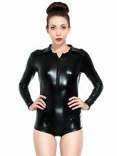 Sexy BodysuitLingerie Metallic Zip Front Romper Jump Suit Clubwear
