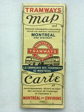 WWII 1945 MONTREAL TRAMWAY BUS MAP TIME TABLE FARE ROUTE QUEBEC CANADA SIGN LOGO