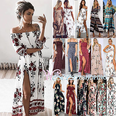Vintage Boho Floral Long Maxi Dress Kimono Belted Gown Summer Beach Party JL