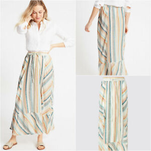Marks-and-Spencer-M-amp-S-Candy-Pink-Blue-Yellow-Stripe-Linen-Maxi-Skirt-8-18