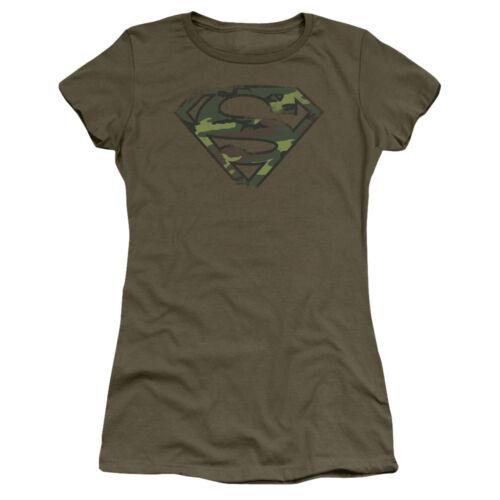 Superman DISTRESSED CAMO SHIELD Licensed Juniors Cap Sleeve T-Shirt
