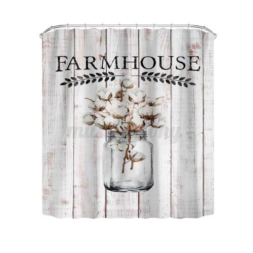 US Christmas Farmhouse Bathroom Shower Curtain Non-Slip Toilet Cover Mat Rug