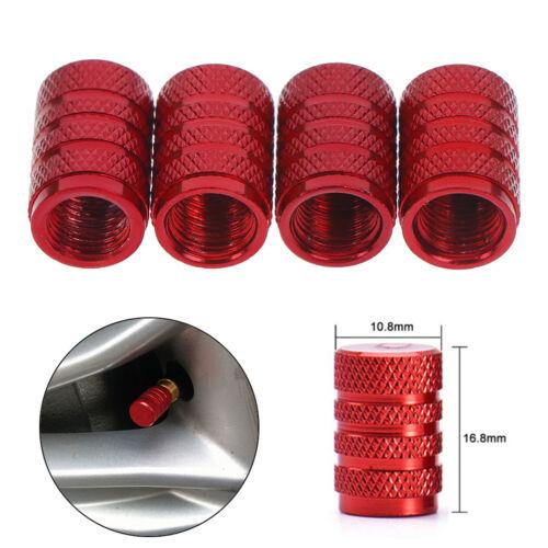 4Pcs Aluminium red car tyres valve stems air dust cover screw cap accessories`UK