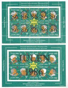 Denmark-DJF-1986-Children-Xmas-TB-Seal-Sheets-Perf-Imperf-VF-NH-dull-gum