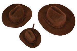 MINI-BROWN-Felt-COWBOY-HAT-Western-Wedding-Party-Favor-Choose-Size-amp-Pack-Amount