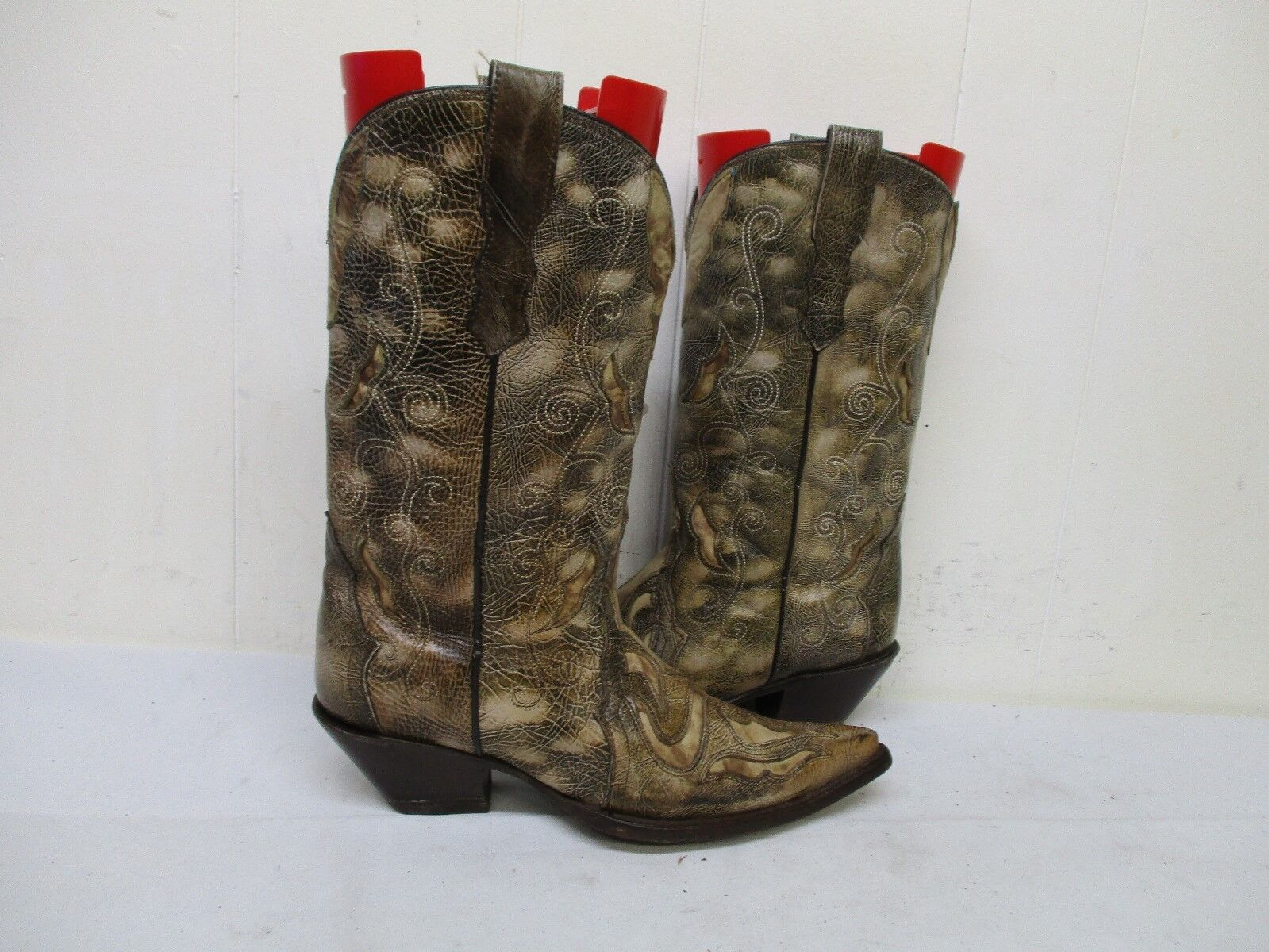 CORRAL Distressed Leather Inlay Cowboy stivali donna Dimensione 7.5 M Style R2300