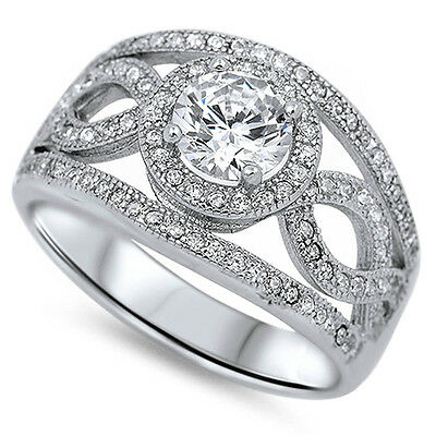3CT Fine Round & Pave Cz High Fashion .925 Sterling Silver Ring Sizes 5-12