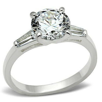 Round Solitaire Engagement Ring w Baguette Accents CZ 925 Sterling Silver
