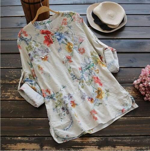 Plus Size Women Boho Floral Long Sleeve Blouse Tops Ladies V Neck T Shirt 18-28