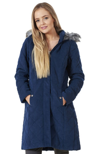 Ladies Quilted Hooded Warm Coat Winter Outerwear Fur Jacket Parka Rr6Rn0q