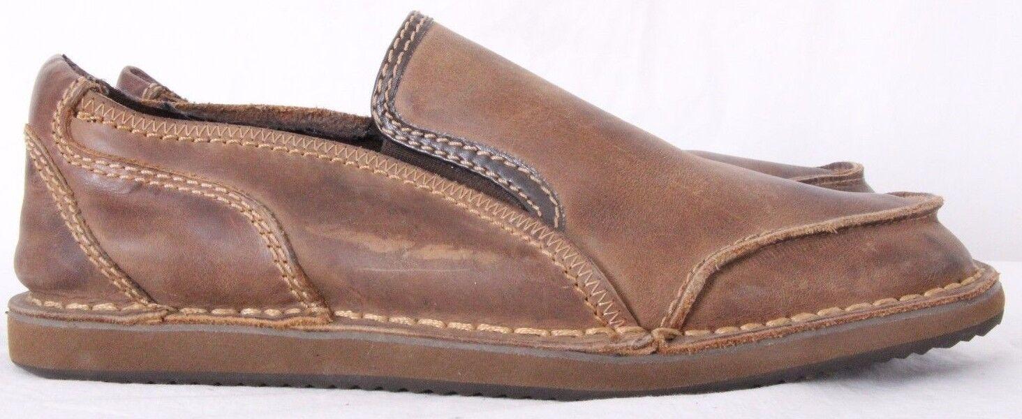 Bed Stu Coaster Brown Leather Moc Toe Stitched Slip On Loafers Men's US 9.5