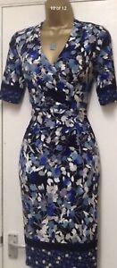 Ex-M-amp-S-Per-Una-50-s-Navy-Floral-Wrap-Jersey-Pencil-Wiggle-Dress-Size-14