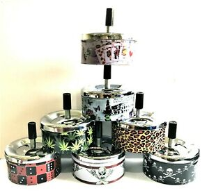 SQUARE SPINNING ASHTRAY METAL 15 Designs  COMES IN BOX IDEAL GIFT