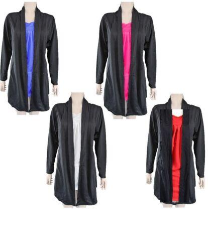 Unusual light dual black wrap cardigan fleece top coloured front panel Plus Size