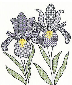 ff1c16a61cf71 Image is loading BOTHY-THREADS-BLACKWORK-FLOWERS -IRISES-COUNTED-CROSS-STITCH-