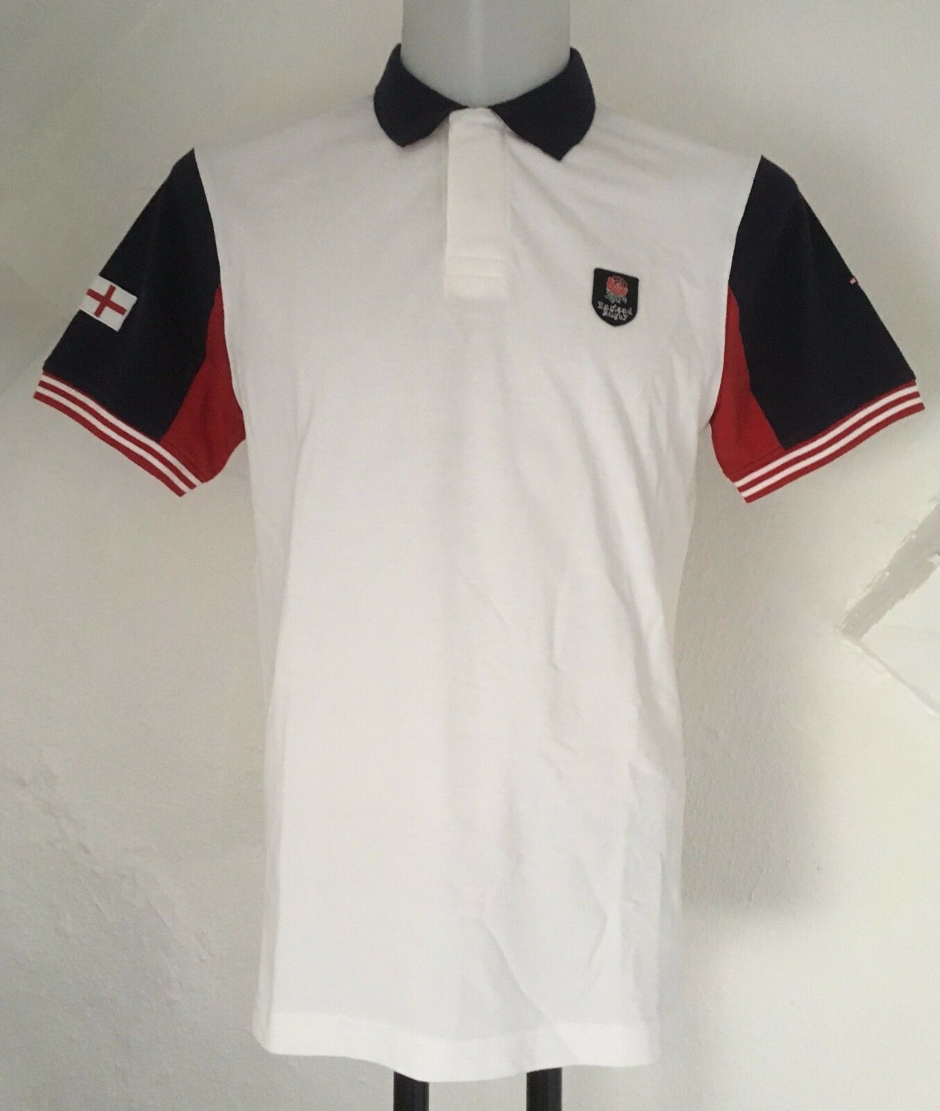England RUGBY BIANCA S S POLO SHIRT by Eden Park Taglia Uomo Media Nuovo di Zecca