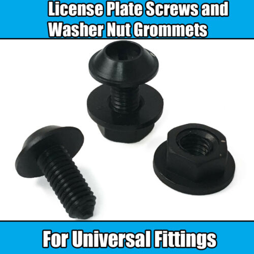 4x Tornillos de Placa de licencia y la Arandela Tuercas Negro Plástico Ojal de montaje universal