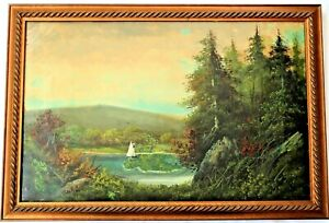 BIG ANTIQUE FOLK ART BOAT OIL PAINTING PICTURE FRAME COUNTRY PRIMITIVE VICTORIAN