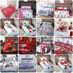 WINTER-amp-Natale-Stampa-Piumone-Set-di-biancheria-da-letto-con-copripiumone-disponibile-in-amp
