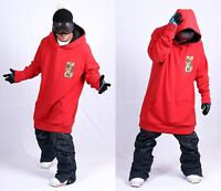 December Long Tall Hoodie Ski Snowboard-basic Red