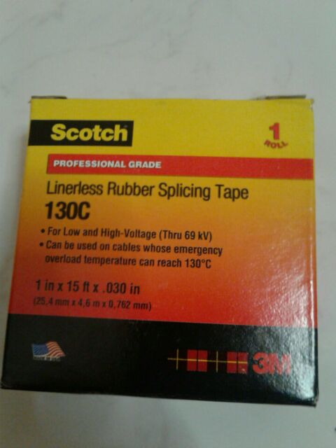 "Scotch Professional Grade Linerless Rubber Splicing Tape 130C 3//4/""x30ftx.030/"" 2"