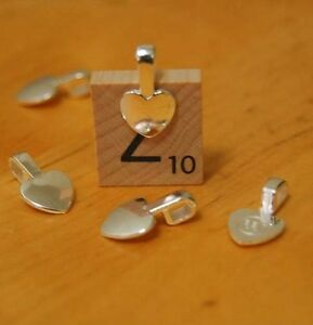 25-x-Heart-shaped-small-glue-on-bails-bail-jewellery-supplies-Silver-Color