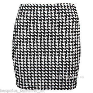 Womens-Celebrity-Inspire-Dogtooth-Print-Ladies-Mini-Party-Skirt-Plus-Size-SM-XXL