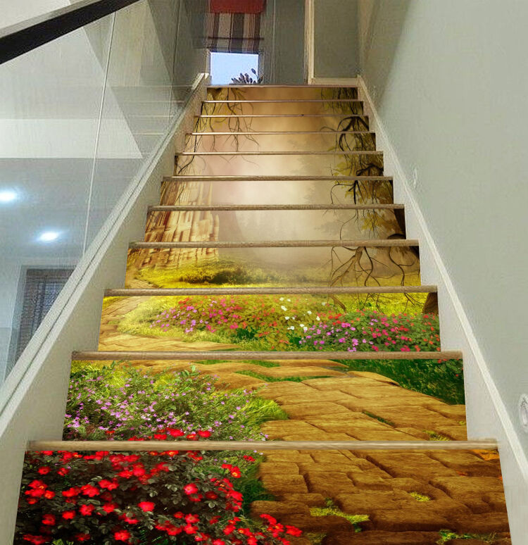 3D Path flowers 978 Stair Risers Decoration Photo Mural Vinyl Decal Wallpaper UK
