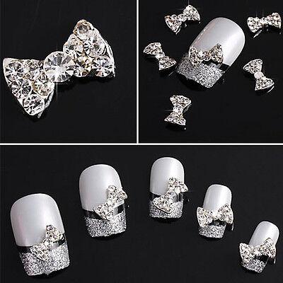 10Pcs Novelty 3D Clear Alloy Rhinestone Bow Tie Nail Art Slices DIY Decorations