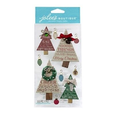 Jolee/'s HOLIDAY WORD TREES Boutique Stickers 3D CHRISTMAS TREES NEW
