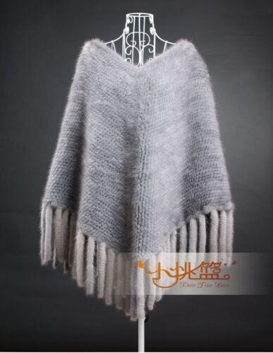 100/% Echte Gestrickte Nerz Pelz Umhang Poncho Pullover Mantel Ponchos Quasten