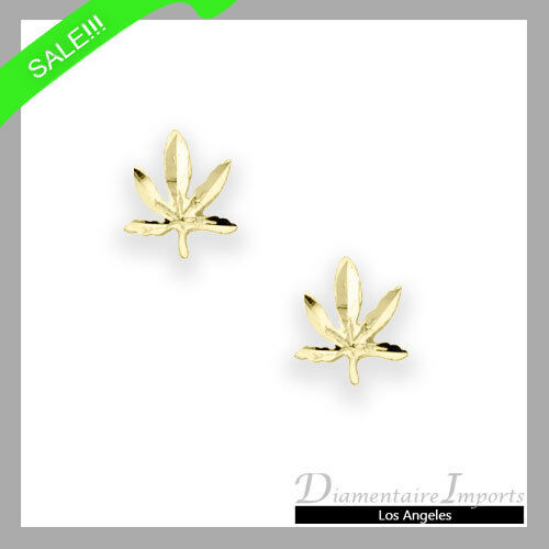 Marijuana Post Earrings 14k Yellow gold NOW ONLY  39